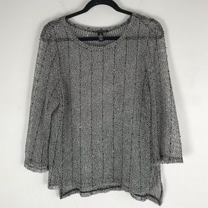 INC Netted sequin shimmer sweater grey sheer